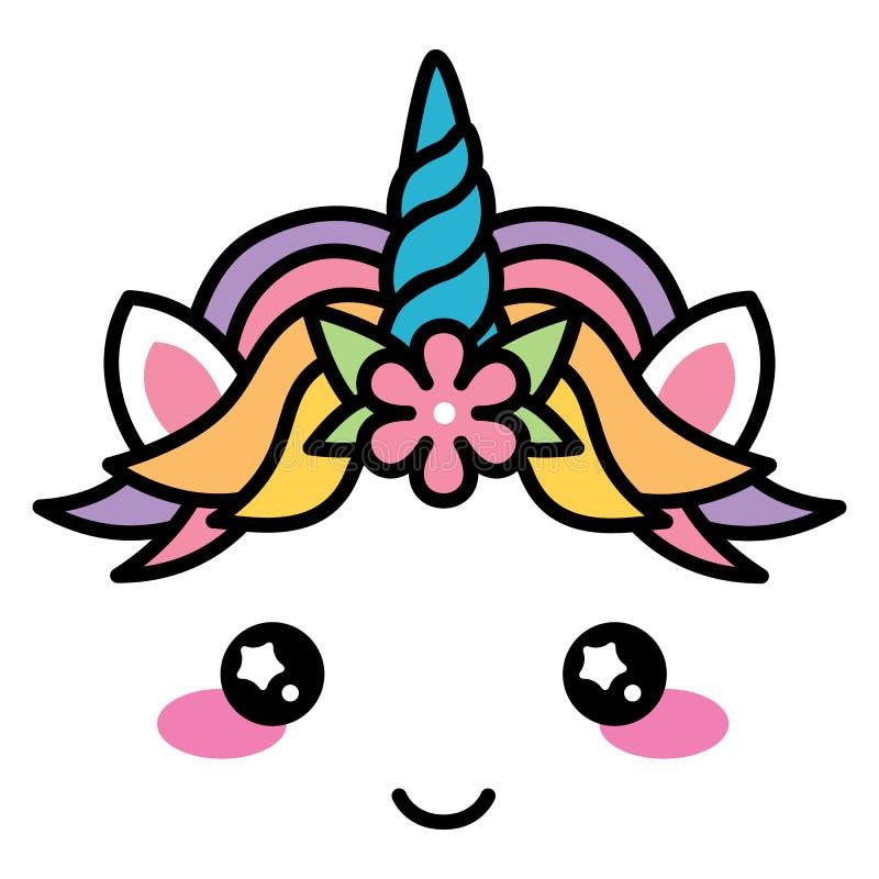 Cor pastel bonito do arco-íris da cara do unicórnio de Kawaii com flor ilustração royalty free