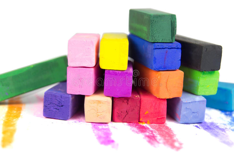 Cor pastel colorida isolada no fundo branco imagem de stock