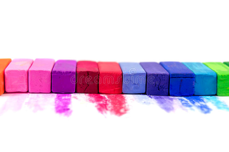 Cor pastel colorida isolada no fundo branco imagens de stock