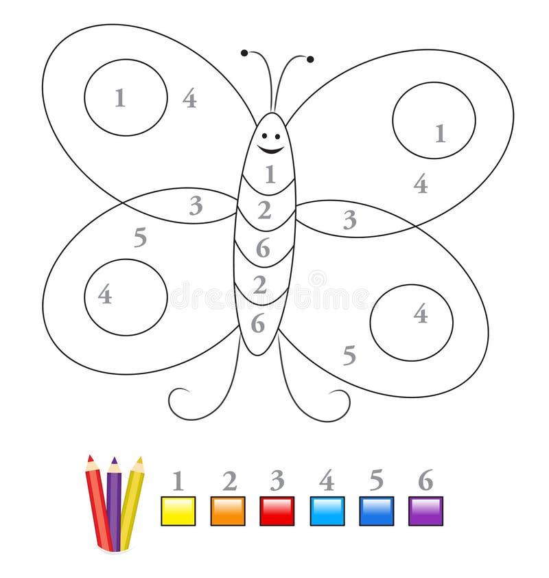 Cor pelo jogo de número: borboleta ilustração do vetor