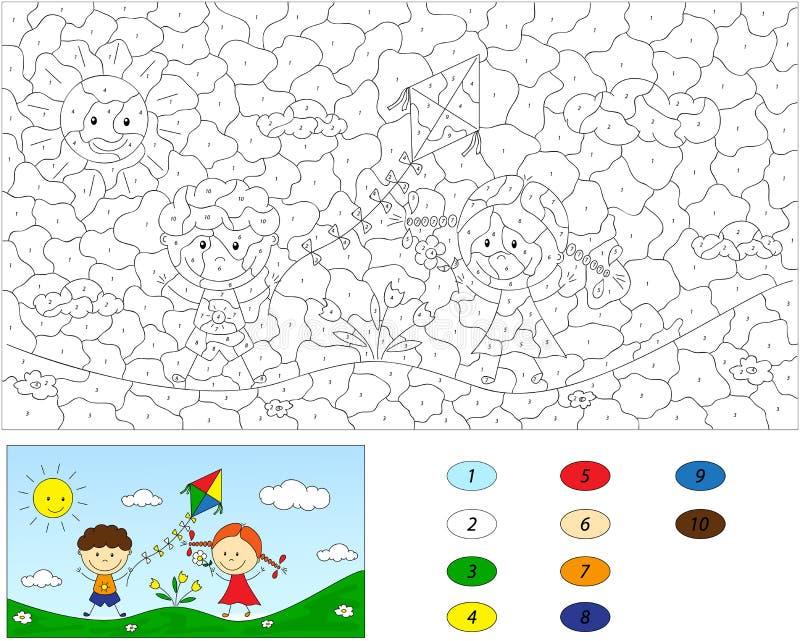 Cor pelo jogo educacional do número para crianças Um menino e um jogo da menina ilustração royalty free