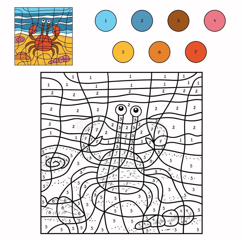 Cor pelo número (caranguejo) ilustração do vetor