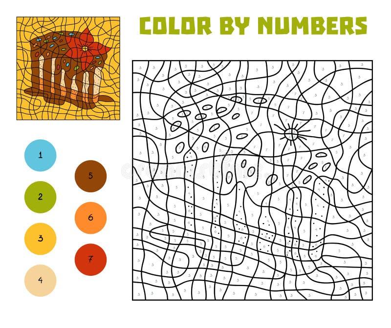 Cor pelo número, jogo da educação, bolo ilustração royalty free
