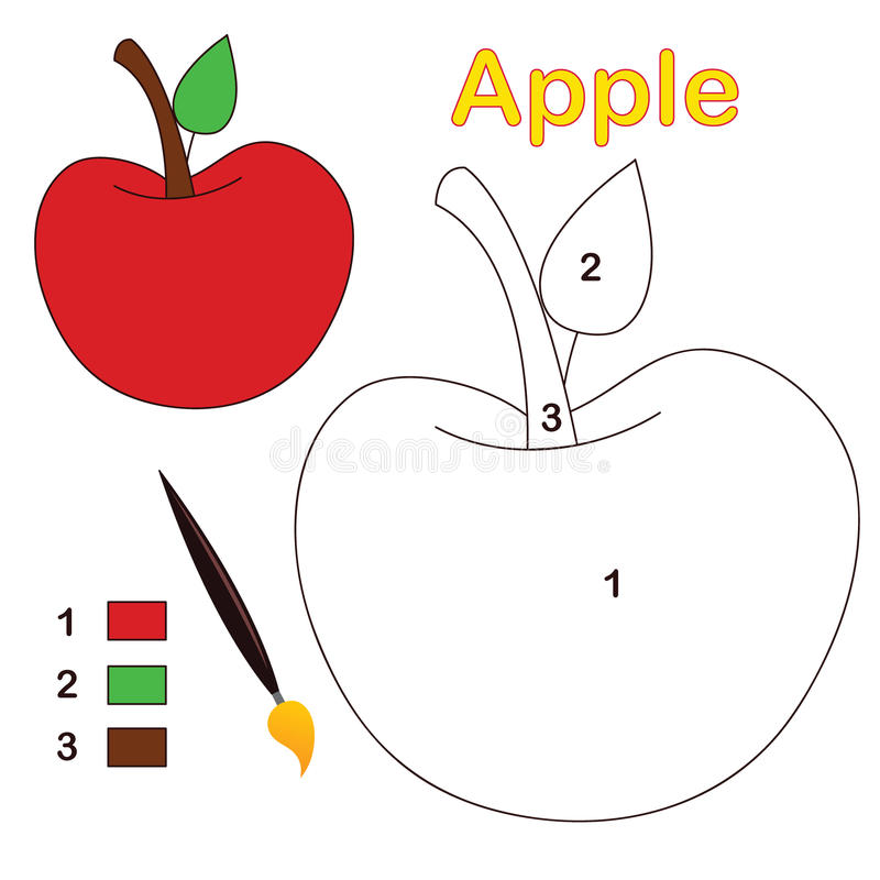 Cor pelo número: maçã ilustração do vetor