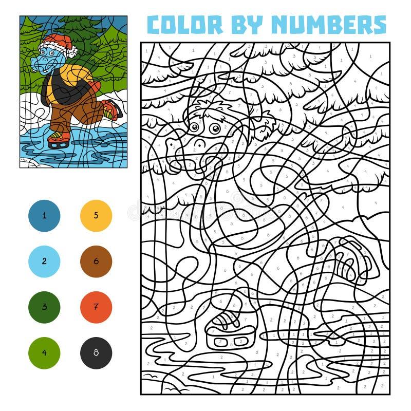 Cor pelo número para crianças, hipopótamo em patins ilustração stock