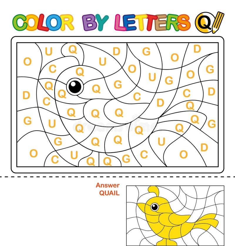 Cor por carta Enigma para crianças codornizes ilustração royalty free