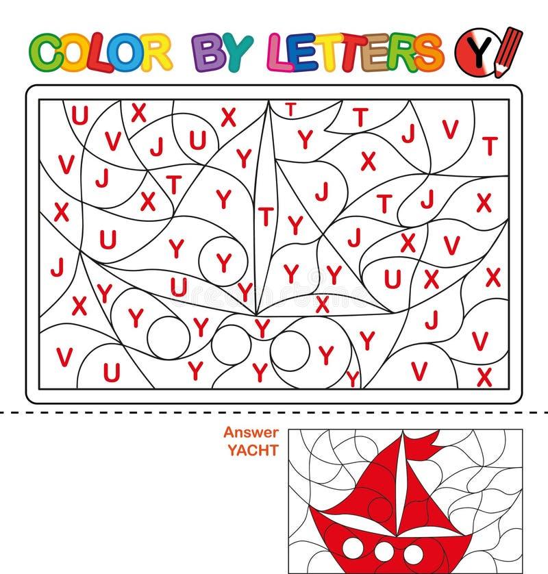 Cor por carta Enigma para crianças Iate ilustração royalty free