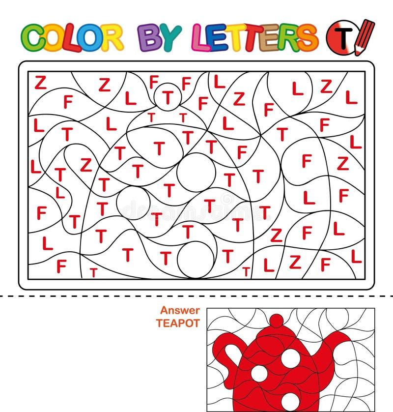 Cor por carta Enigma para crianças teapot ilustração royalty free