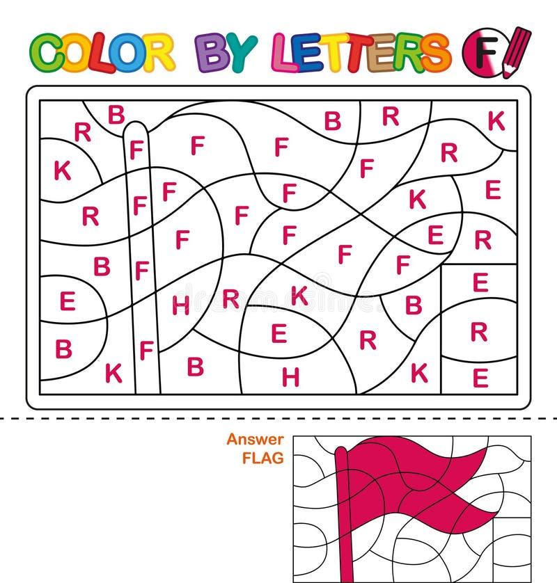 Cor por letras Aprendendo as letras principais do alfabeto Enigma para crianças Letra f Bandeira Educação pré-escolar ilustração stock
