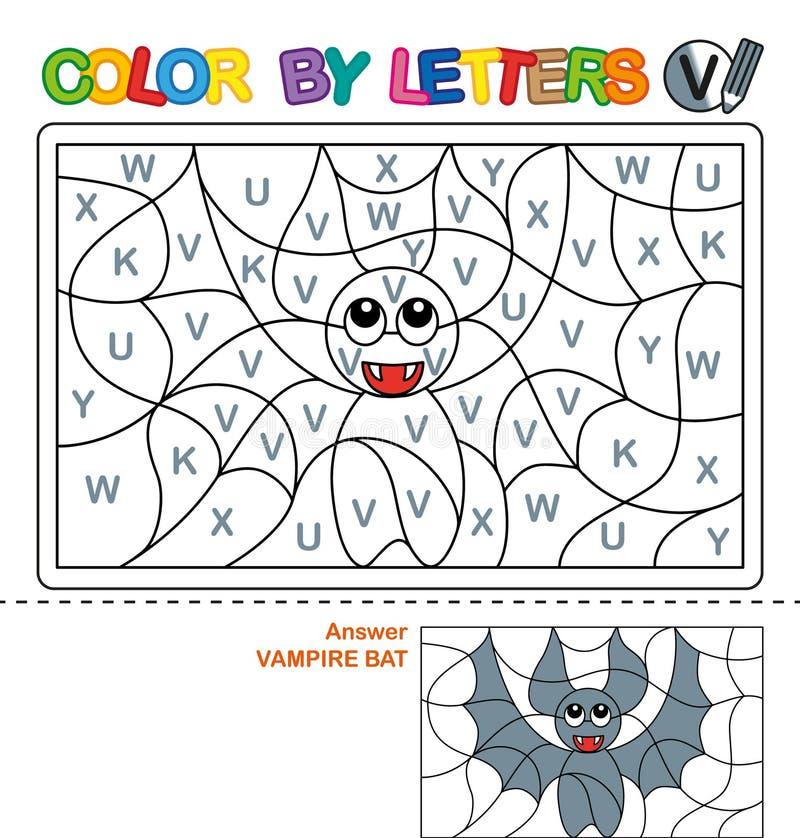 Cor por letras Aprendendo as letras principais do alfabeto Enigma para crianças Letra V Bastão de vampiro Educação pré-escolar ilustração royalty free