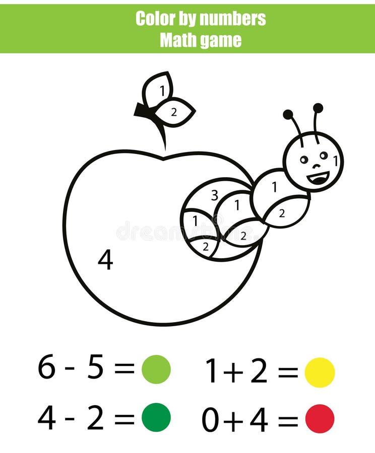 Cor por números Jogo da matemática Página da coloração com lagarta ilustração royalty free