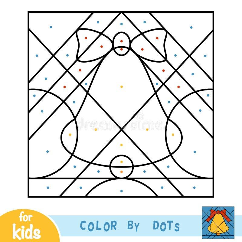 Cor por pontos, jogo para crianças, sino de Natal ilustração stock