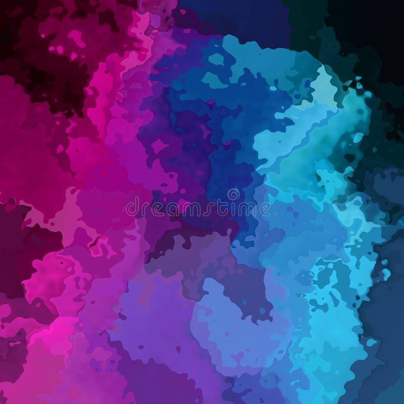 Cor preta azul manchada abstrata da violeta roxa magenta quadrada do rosa do fundo - arte moderna da pintura - aquarela ilustração royalty free