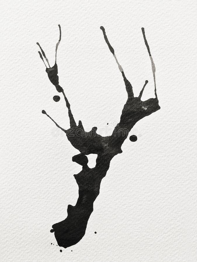 Cor preta da tinta na arte de papel ilustração royalty free