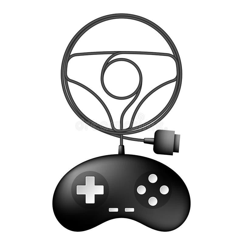 Cor preta de Gamepad ou de joypad e forma do volante do carro feita da ilustração do projeto de cabo ilustração do vetor