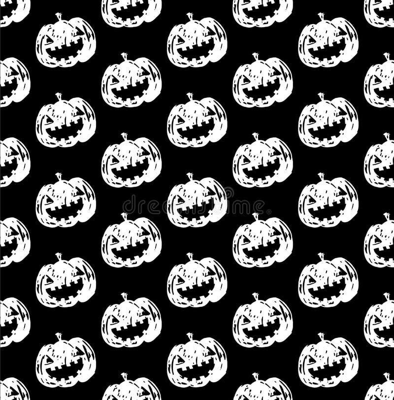 cor preto e branco da cabeça da abóbora da Jack-o-lanterna ilustração do vetor