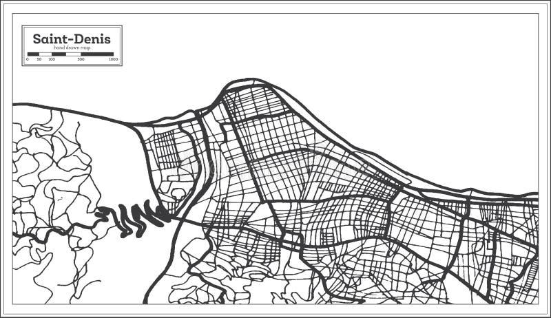Cor preto e branco do iin de Denis Reunion City Map de Saint Ilustra??o preto e branco do vetor ilustração do vetor