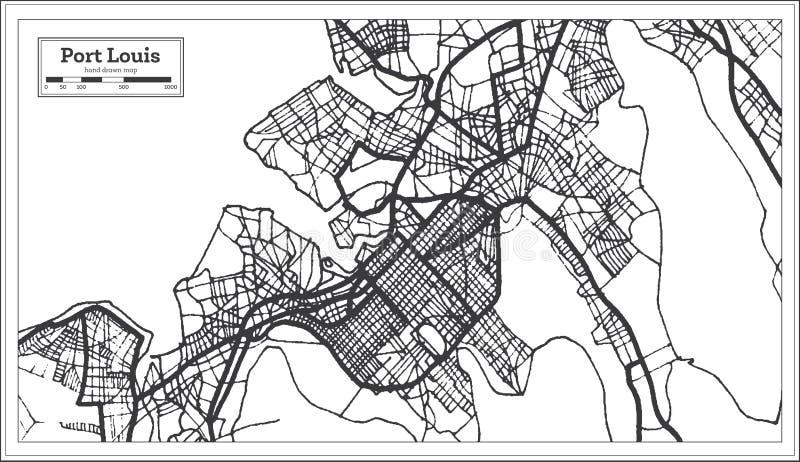 Cor preto e branco do iin portuário de Louis Mauritius City Map Ilustra??o preto e branco do vetor ilustração do vetor