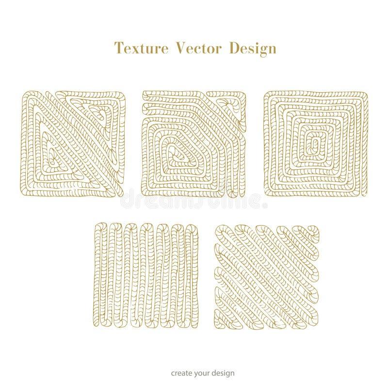 Cor quadrada do ouro da corda Grupo de corda náutica do estilo da escova do vetor dos quadros da placa do vetor no fundo branco ilustração do vetor