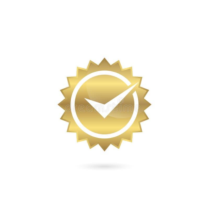Cor quadriculado do ouro do ícone do selo do tiquetaque ilustração royalty free
