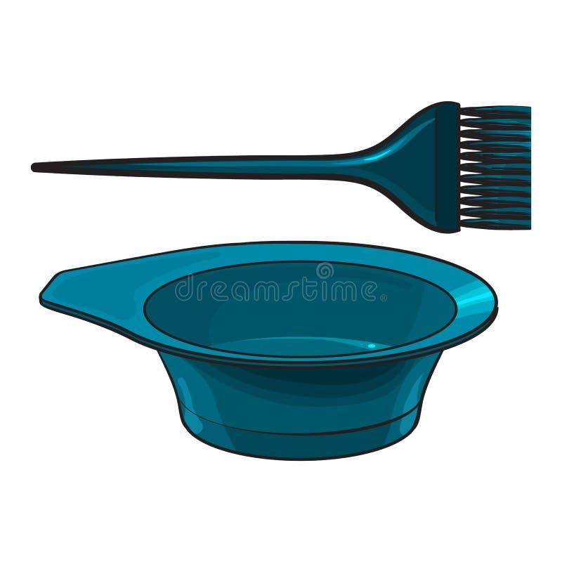 Cor que mistura a escova, a escova de cabelo e a bacia plásticas do cabeleireiro ilustração do vetor