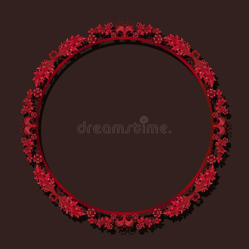 Cor redonda do rubi do quadro com sombra ilustração do vetor