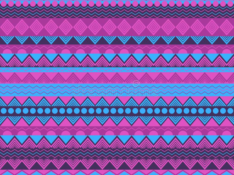Cor sem emenda étnica do teste padrão, a violeta e a azul Matérias têxteis tribais, estilo da hippie Para o papel de parede, roup ilustração stock