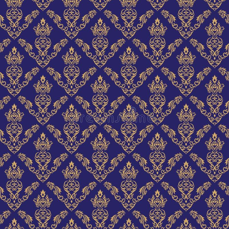 Cor sem emenda do azul do papel de parede 2 do damasco ilustração do vetor