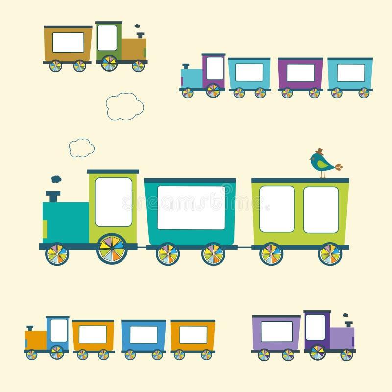 Cor simples Toy Trains do estilo e vagões ajustados ilustração stock