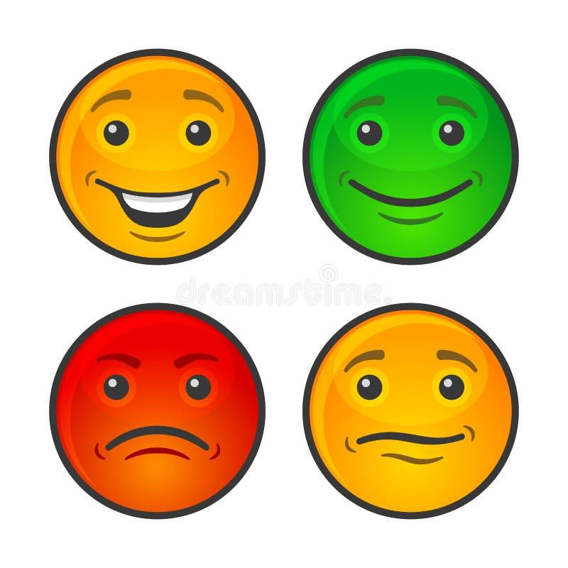 Cor Smiley Face Icons Set Vetor ilustração royalty free