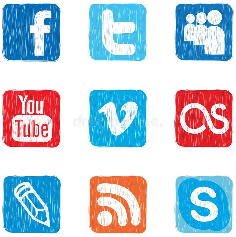 Cor social do ícone dos media ilustração stock