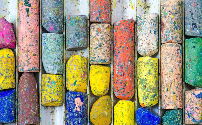 Cor usada dos pastéis na bandeja foto de stock