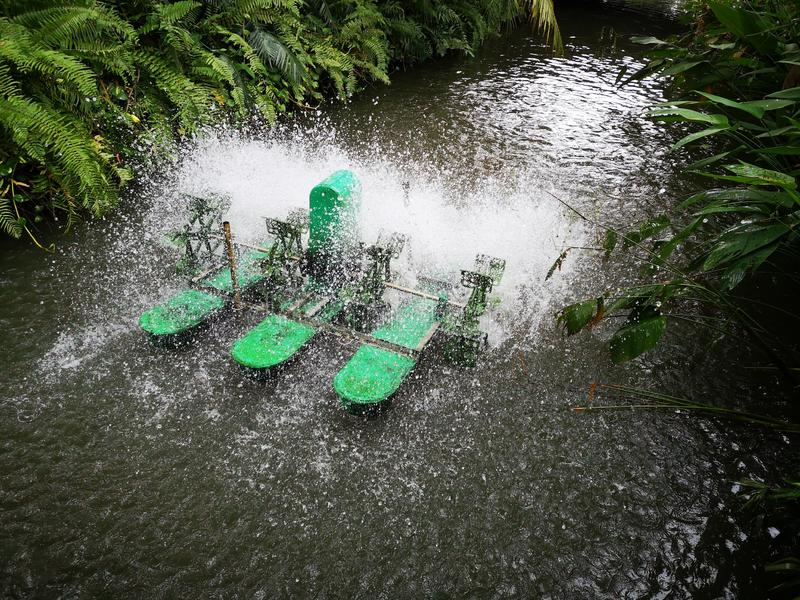 Cor verde, gaseificadores de superfície da roda de pá da água imagens de stock