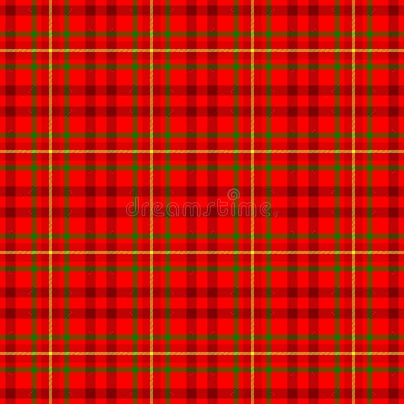cor vermelha, amarela e verde da tela escocêsa do kilt da manta de tartã do fundo sem emenda verificado da textura do teste padrã ilustração stock