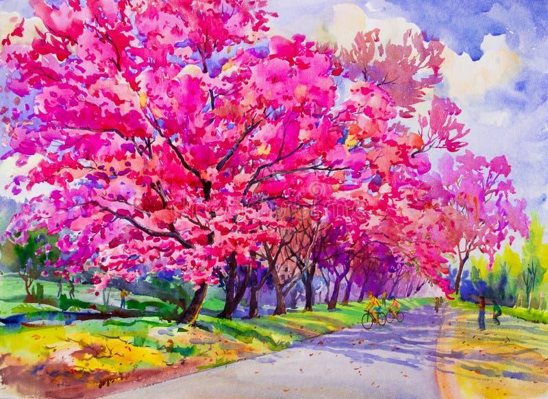 Cor vermelha cor-de-rosa original da paisagem da aquarela da pintura da cereja Himalaia selvagem ilustração royalty free