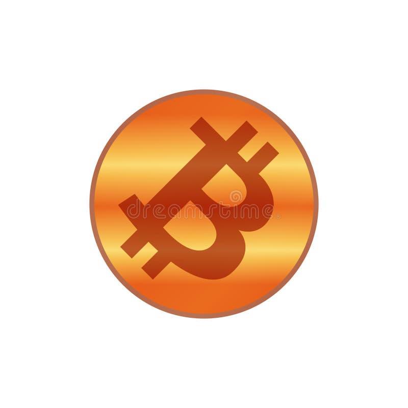 Cor vermelha do cobre do ícone de Bitcoin, símbolo vermelho de cobre da moeda do bitcoin do cryptocurrency, cor vermelha de cobre ilustração do vetor