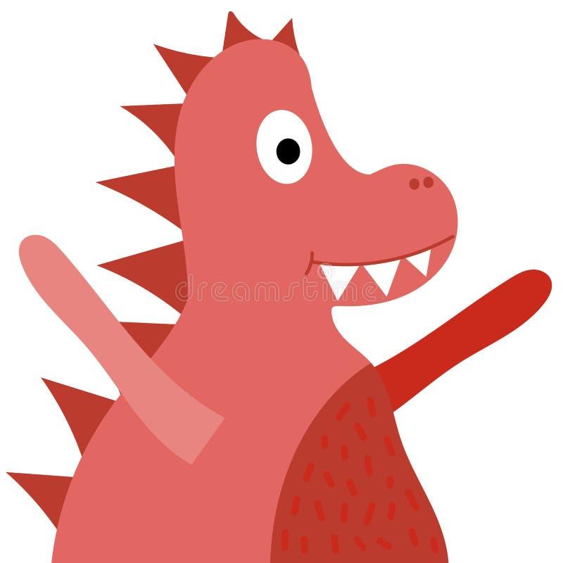Cor vermelha do dinossauro bonito, ilustração para crianças, forma do vetor das crianças, jogos, t-shirt, livros ilustração do vetor
