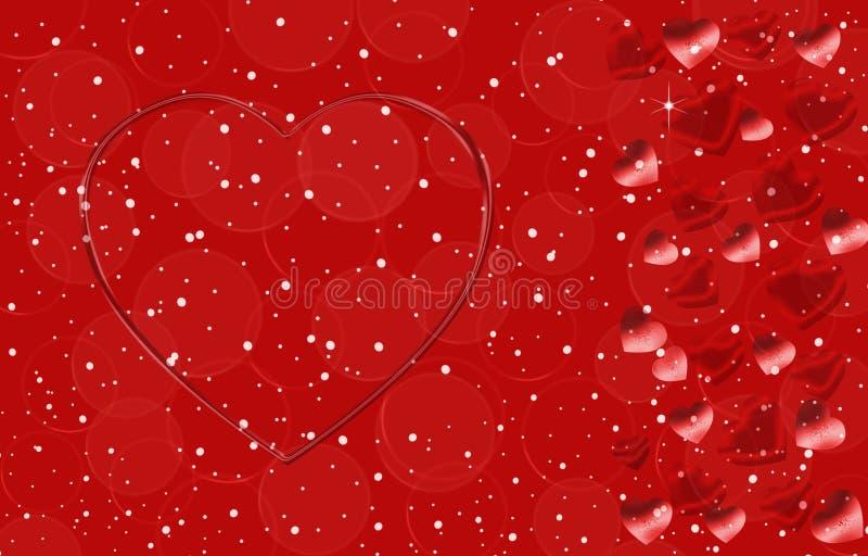 Cor vermelha do fundo com corações de tamanhos diferentes ilustração stock