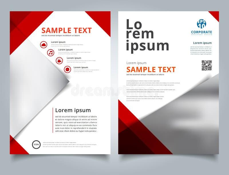 Cor vermelha do triângulo geométrico do molde do folheto com backgr da imagem ilustração stock