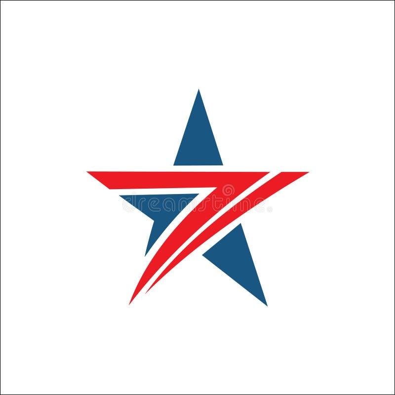 Cor vermelha e azul do sumário do logotipo da estrela ilustração royalty free