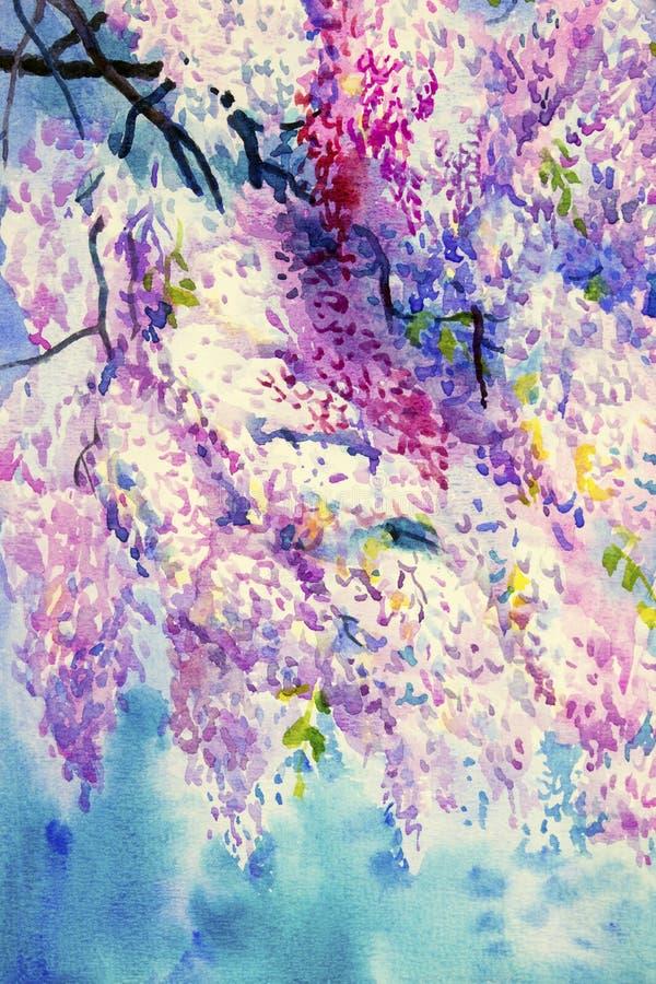 Cor violeta abstrata de flores da glicínia ilustração do vetor