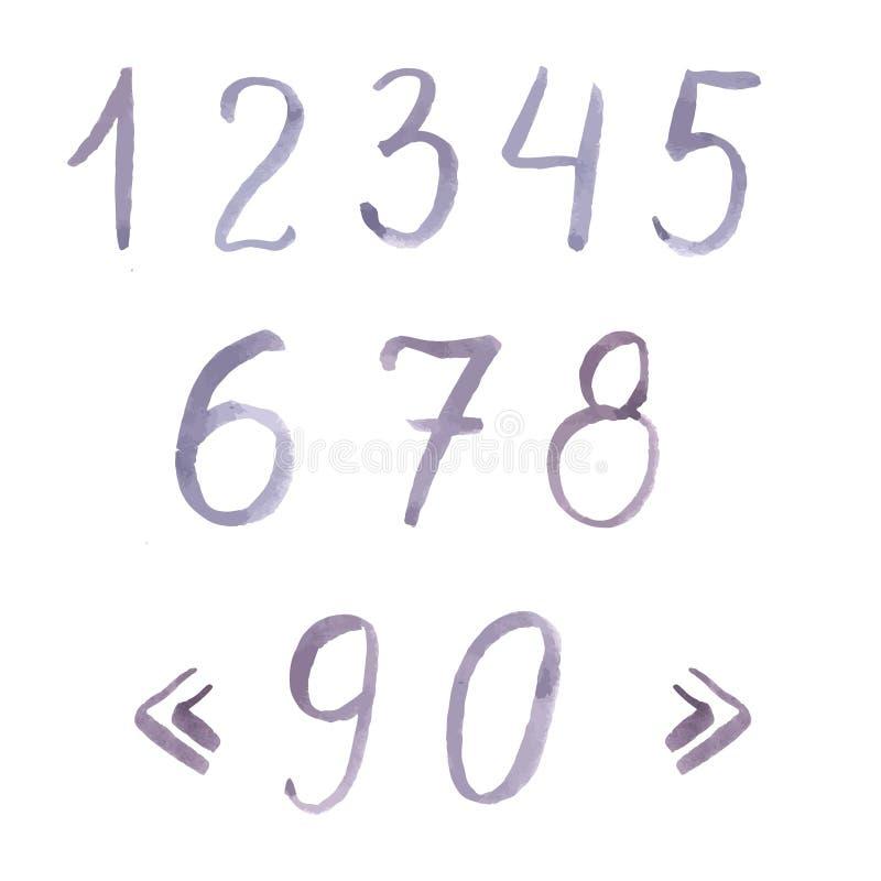 Cor violeta pastel tirada mão dos numerais da aquarela ilustração do vetor