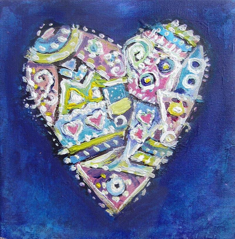Coração étnico de pintura do teste padrão da cor abstrata ilustração royalty free