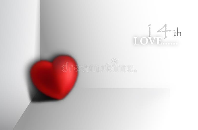 coração 3d em um canto ilustração royalty free