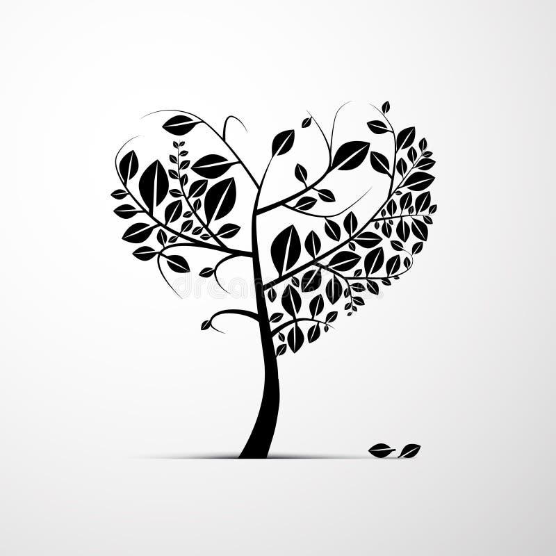 Coração abstrato árvore dada forma ilustração do vetor