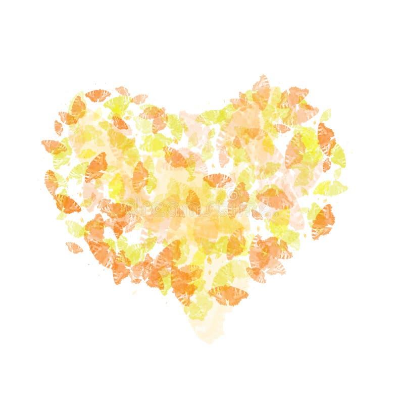 Coração abstrato com extremidade da cor ilustração stock