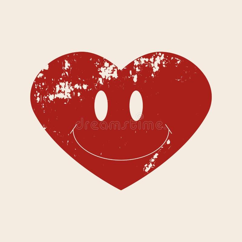 Coração abstrato com sorriso Ilustração do vetor estilo do grunge do vintage Elemento retro Projete para o fato do t-shirt, cópia ilustração royalty free