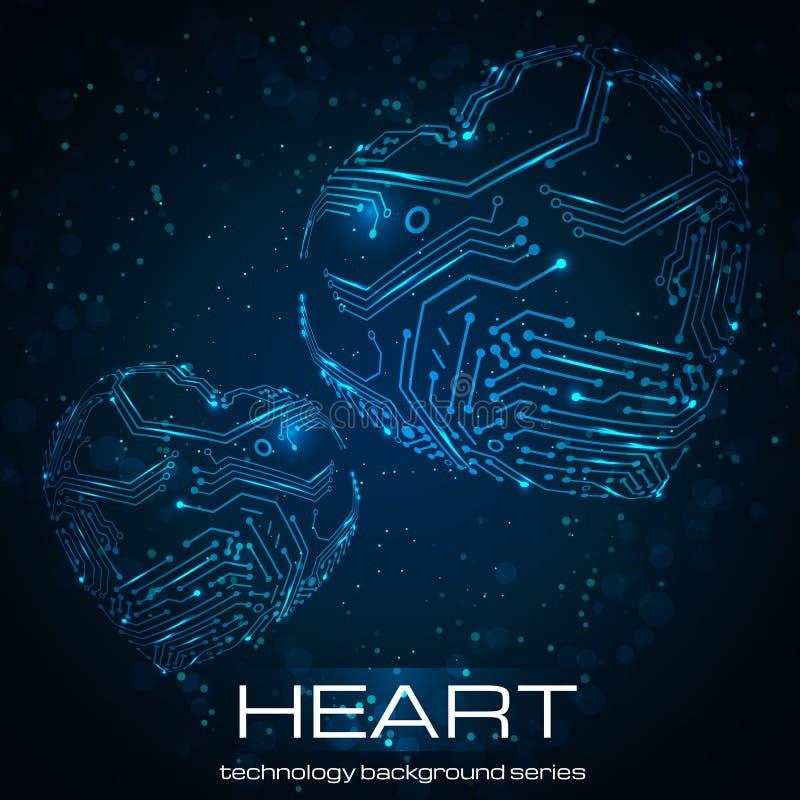 Coração abstrato da tecnologia. ilustração stock