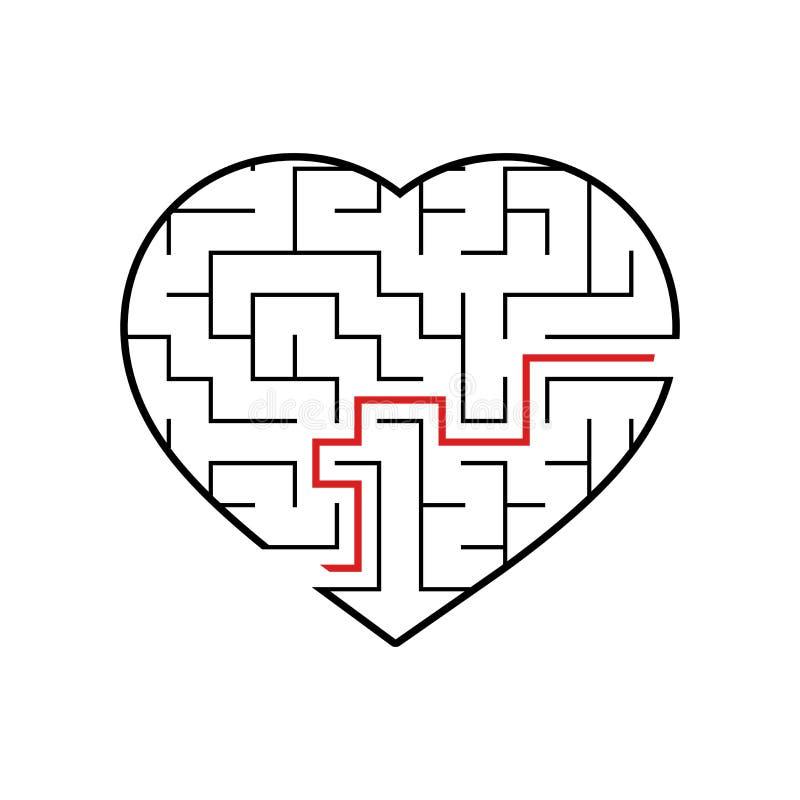 Coração abstrato do labirinto Dia do Valentim Jogo para miúdos Enigma para crianças Uma entrada, uma saída Enigma do labirinto Ve ilustração royalty free
