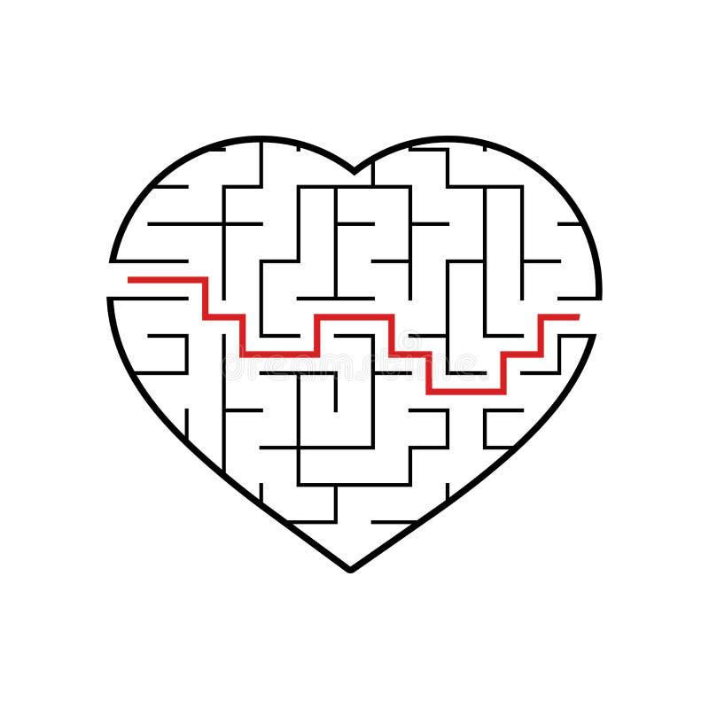 Coração abstrato do labirinto Dia do Valentim Jogo para miúdos Enigma para crianças Uma entrada, uma saída Enigma do labirinto Ve ilustração stock